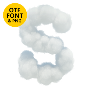 White Clouds Font Letter S. Opentype typeface