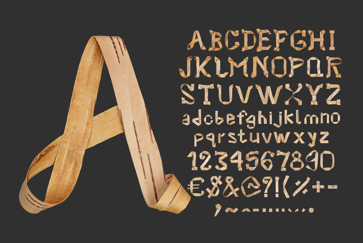 Alphabet of the Birch Curl Font. Wooden OpenType Typeface Made By Handmade Font