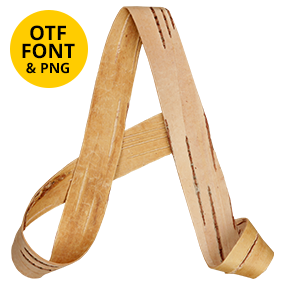 Birch Curl Font Wooden OpenType Typeface Made By Handmade Font Letter A