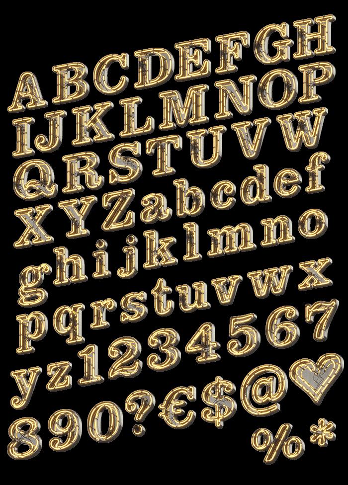 Retro Neon Light Typeface