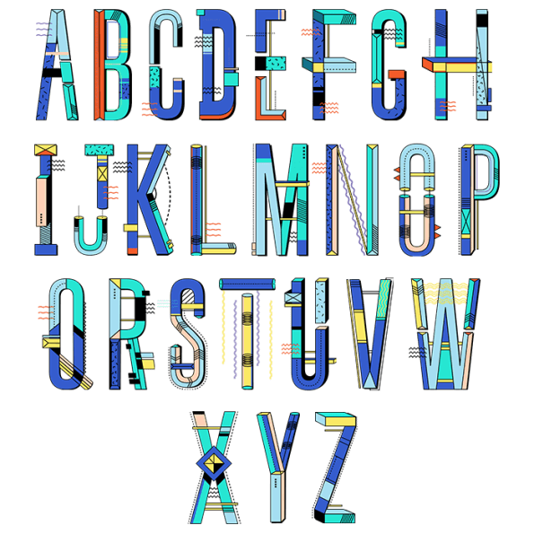Multicolored Abstract Font