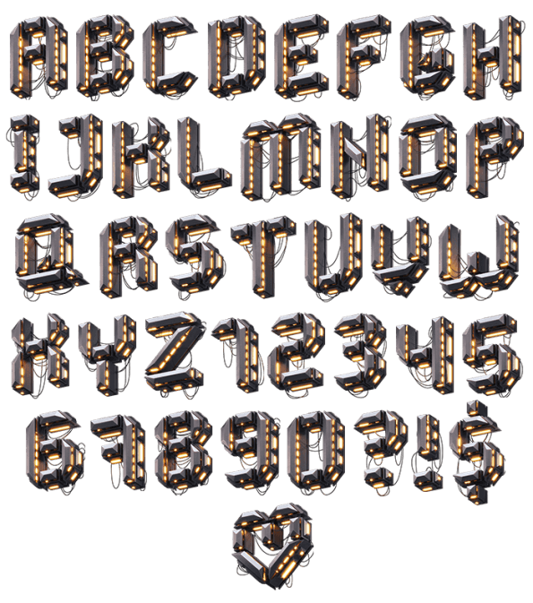 Glowing Futuristic Typeface