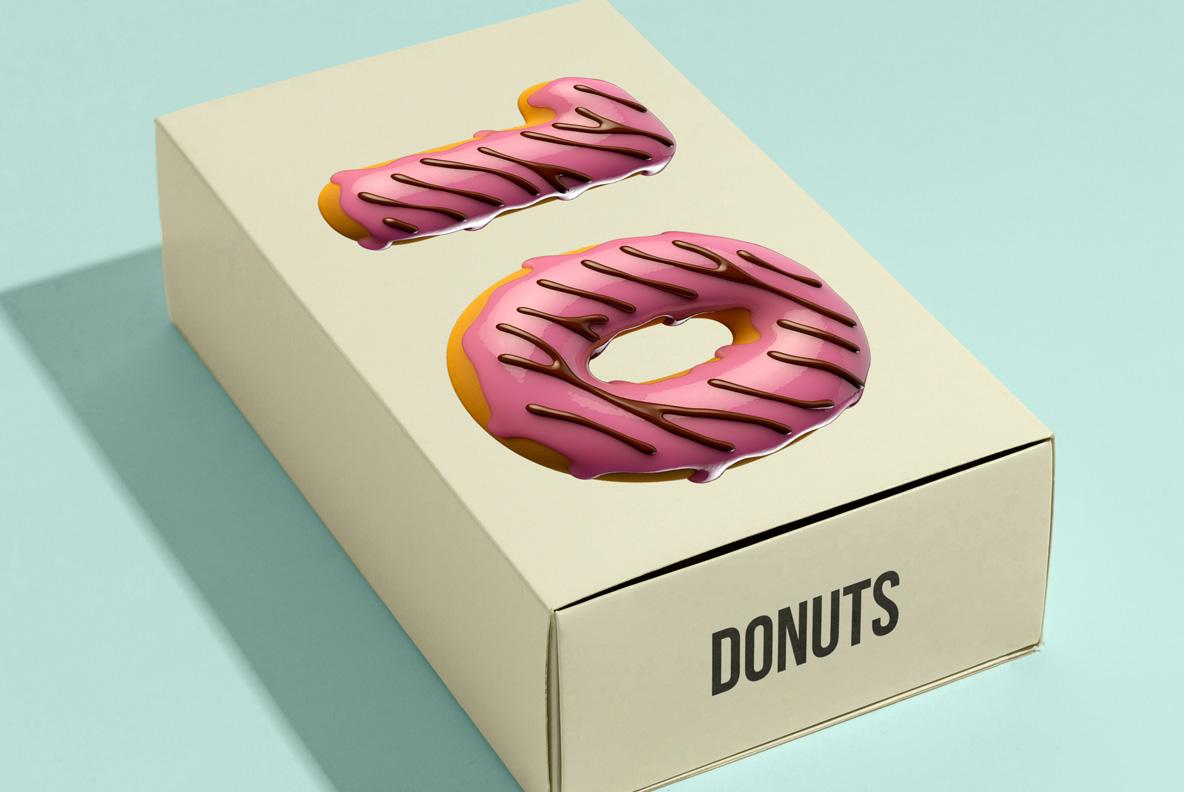 Donuts Font OpenType Typeface SVG. Box design