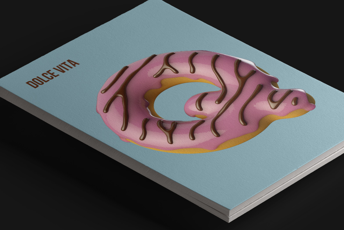 Donuts Font OpenType Typeface. Magazine cover