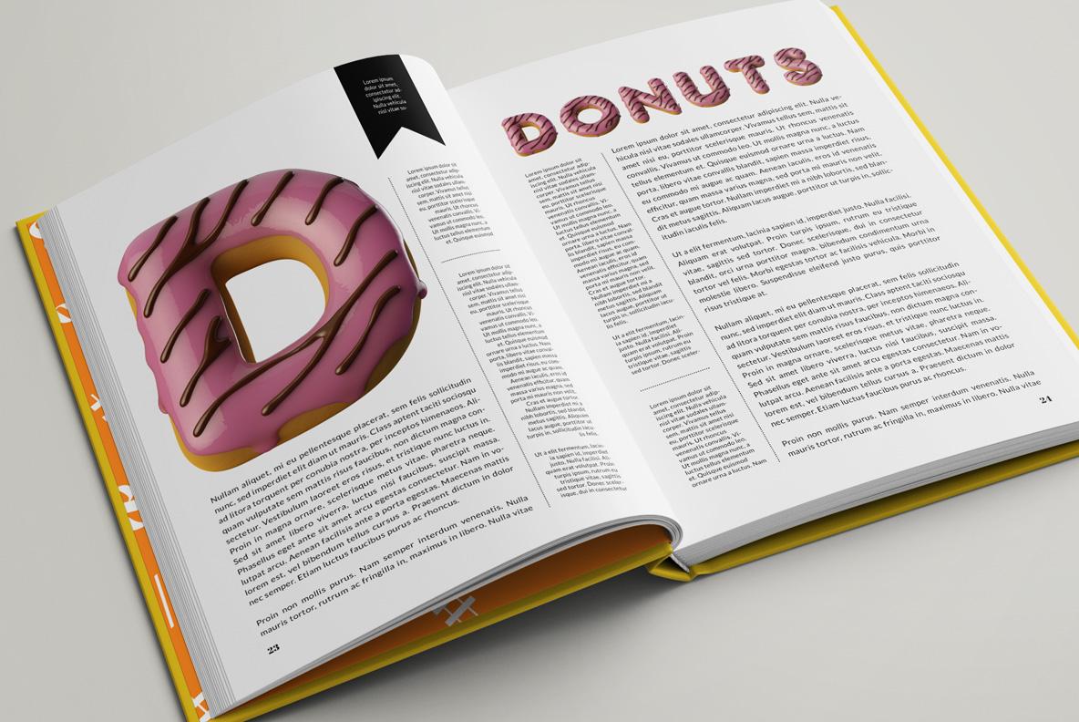 Donuts Font OpenType Typeface SVG. Opened magazine layout
