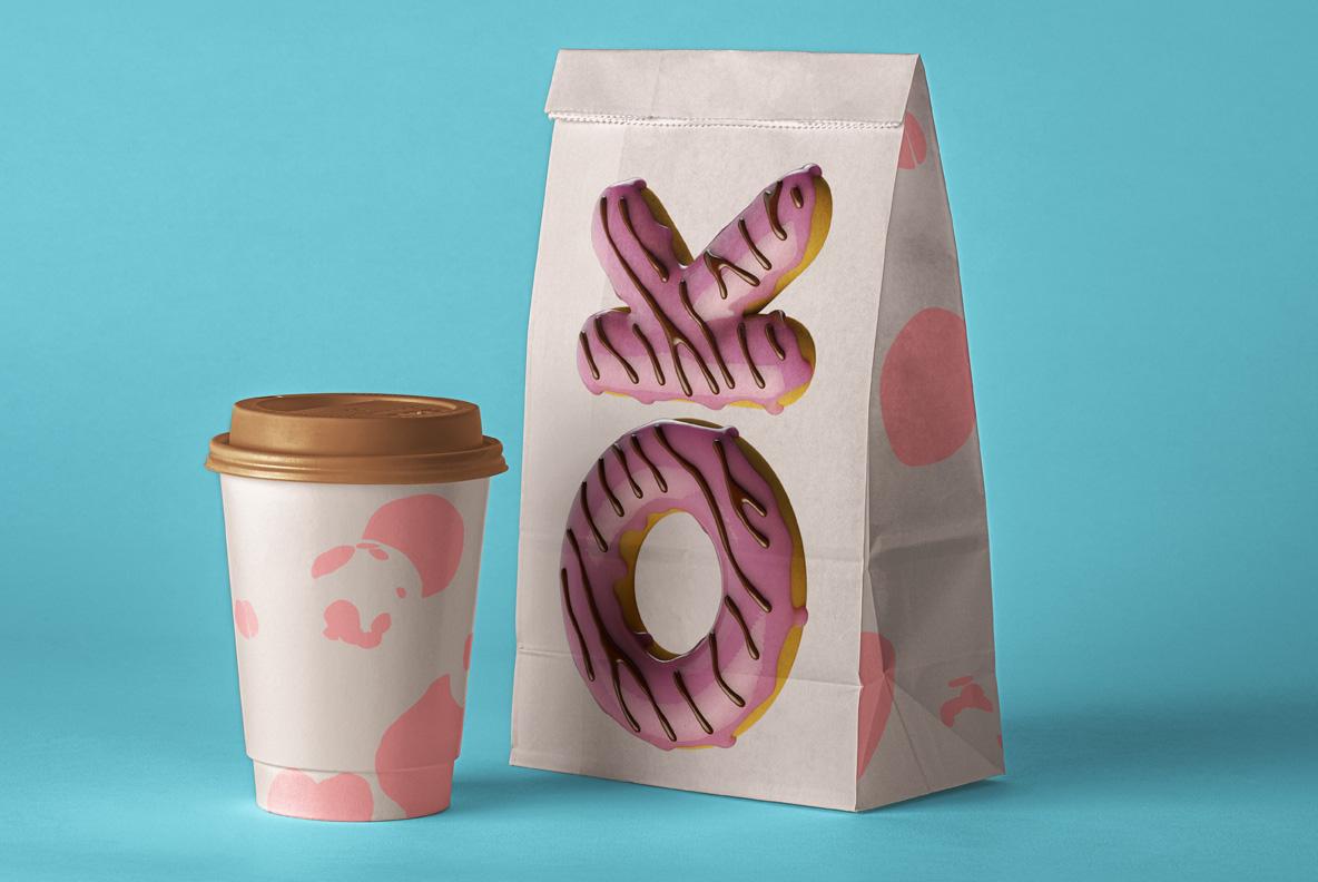 Donuts Font OpenType Typeface SVG. Paper bag