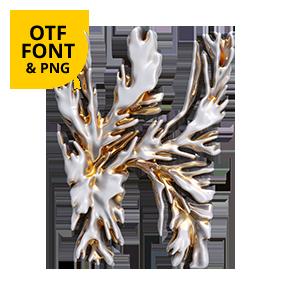 Modern Coral Font Letter W