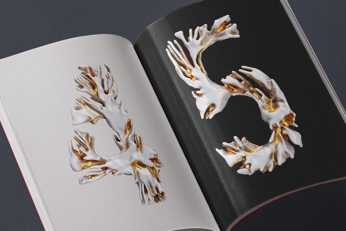 Modern Coral Font OpenType Typeface SVG. Opened magazine