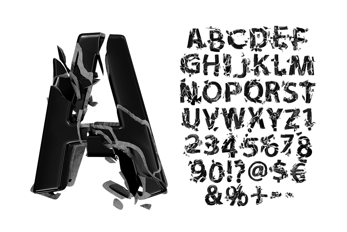 Broken Life Font Black OpenType Font SVG. Alphabet