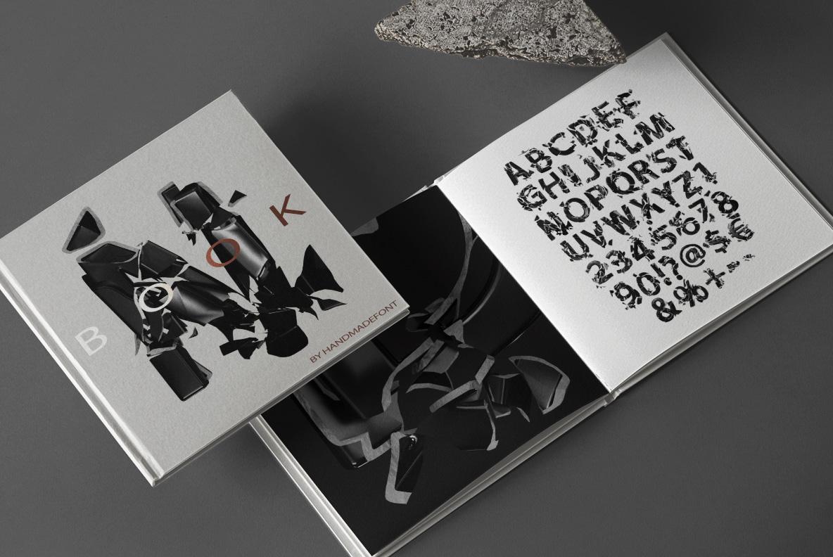 Broken Life Font Black OpenType Font SVG. Book cover