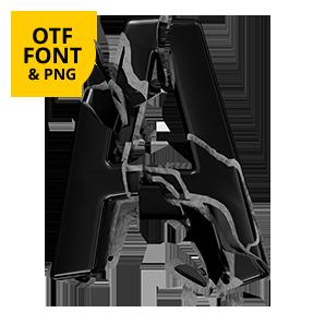 Broken Life Font Letter A. Black opentype font