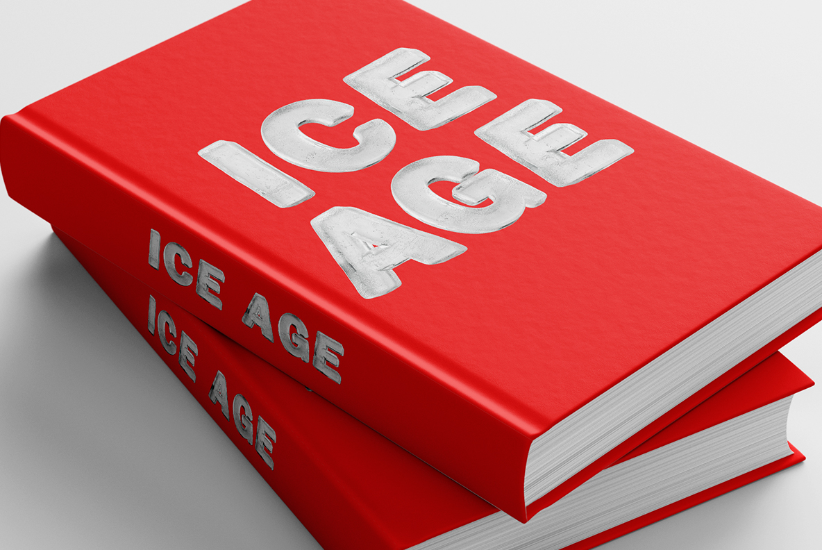 Book cover with Clean Ice Font. Frozen OpenType Typeface Made By Handmade Font