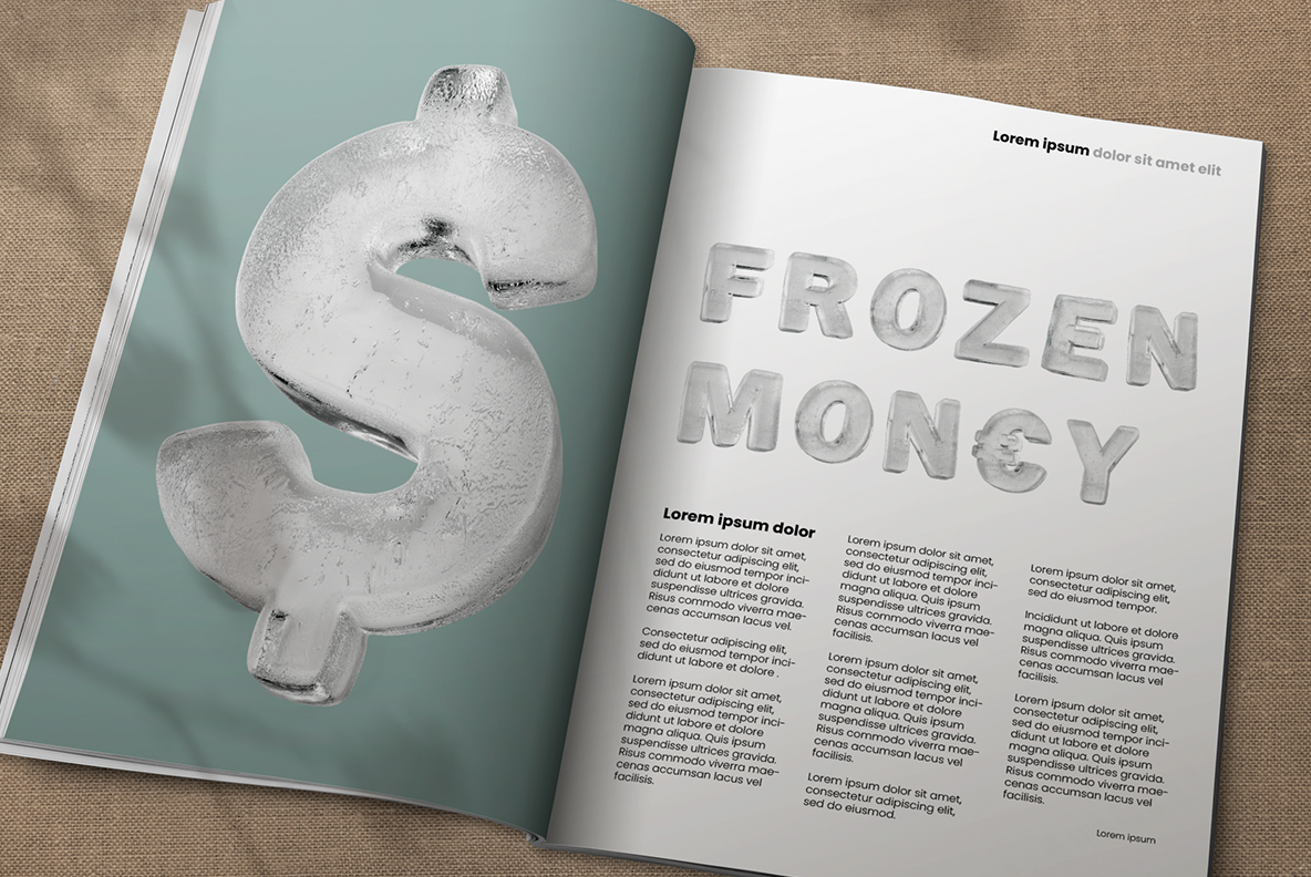 Opened magazine with Clean Ice Font. Frozen OpenType Typeface Made By Handmade Font
