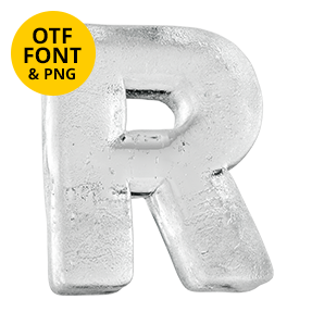 Cover of the Clean Ice Font. Frozen OpenType Typeface Made By Handmade Font. Letter R