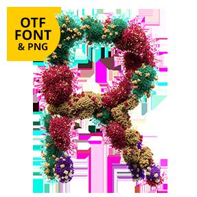 OpenType Typeface. Bacteria Font Letter R