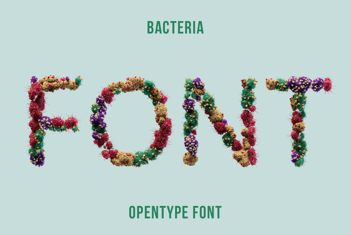 Cover of the Bacteria Font. Virus OpenType Typeface Made By Handmade Font