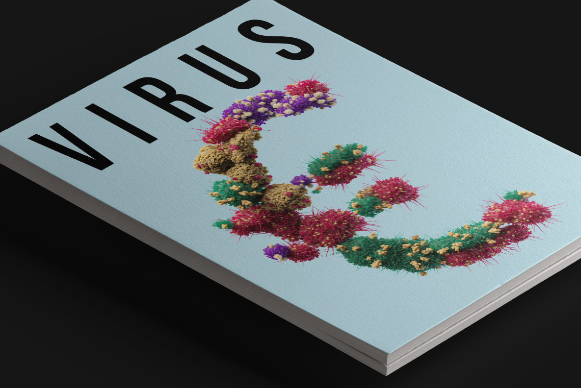 Magazine cover with the Bacteria Font. Virus OpenType Typeface Made By Handmade Font