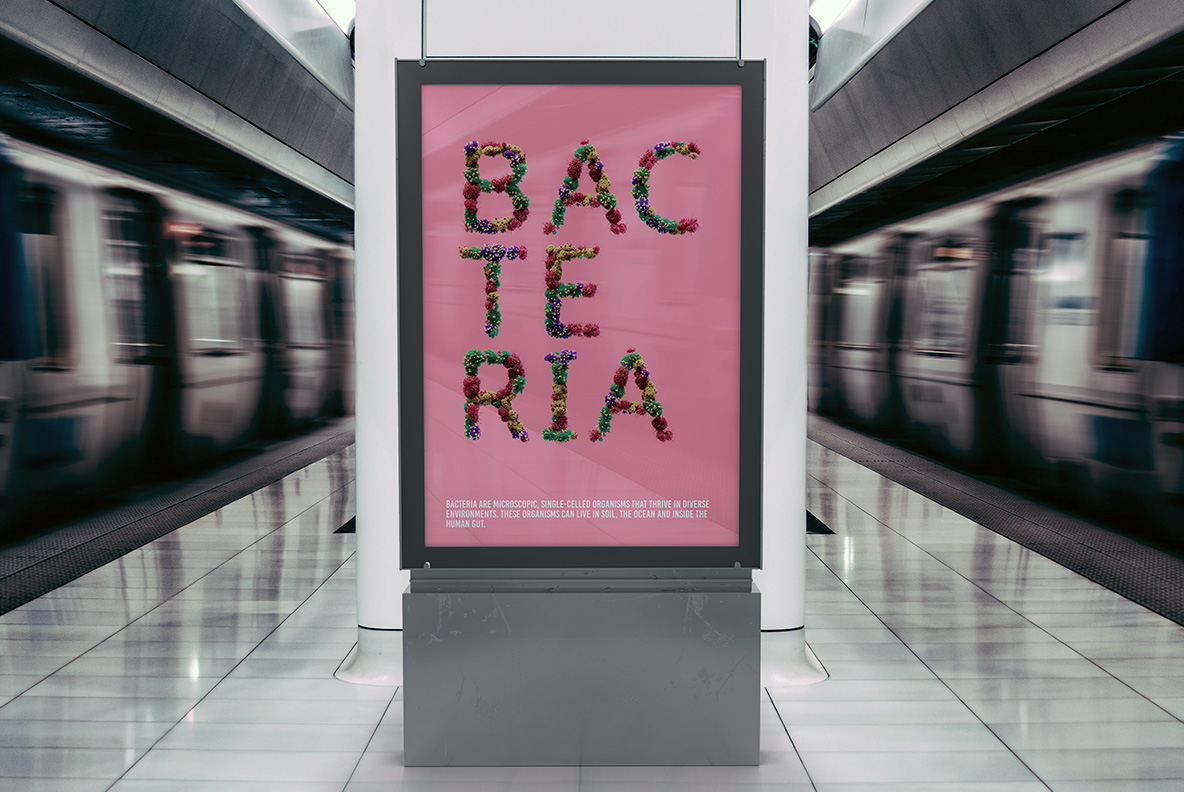 Billboard with the Bacteria Font. Virus OpenType Typeface Made By Handmade Font