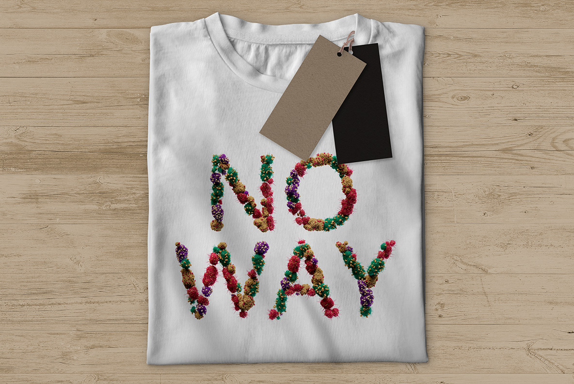 T-shirt with the Bacteria Font. Virus OpenType Typeface Made By Handmade Font