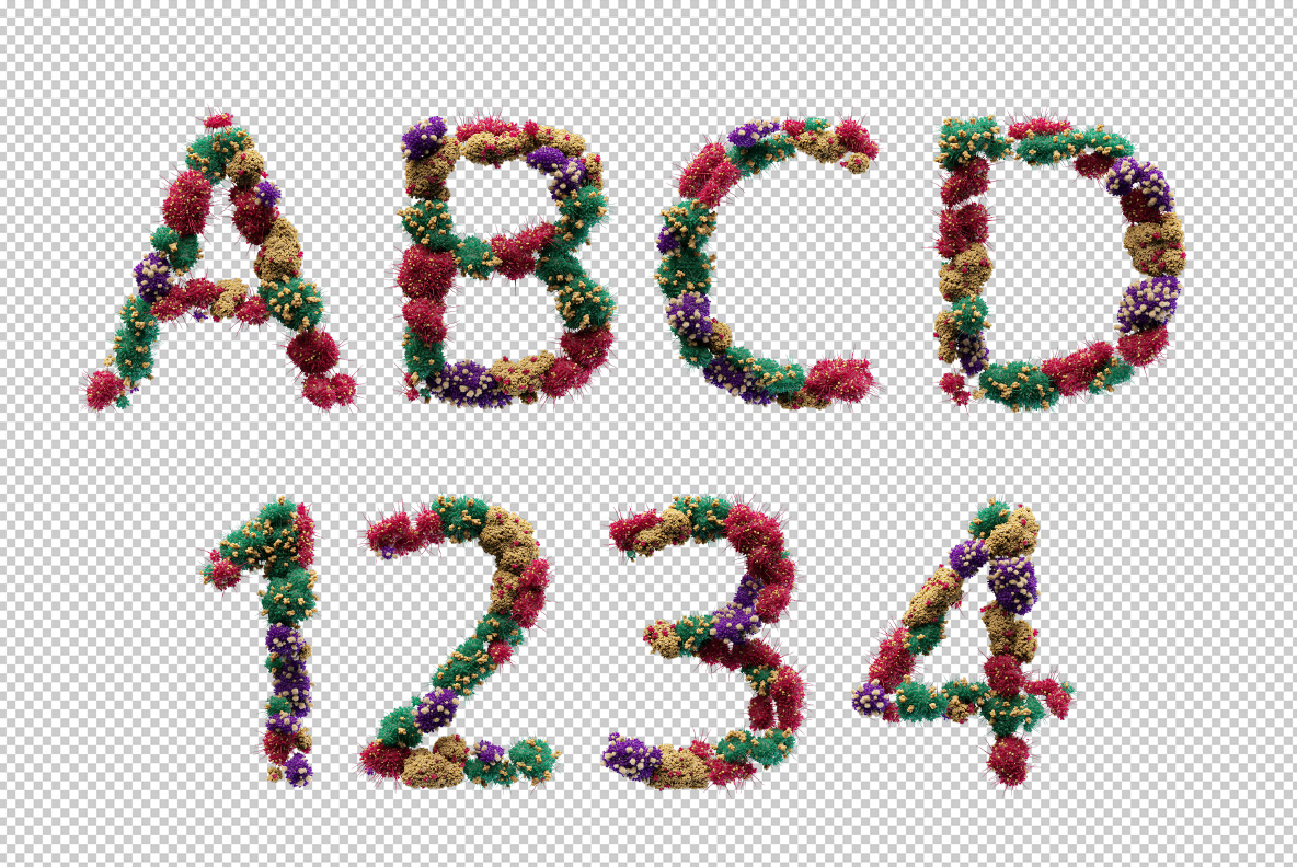 Photoshop test with the Bacteria Font. Virus OpenType Typeface Made By Handmade Font
