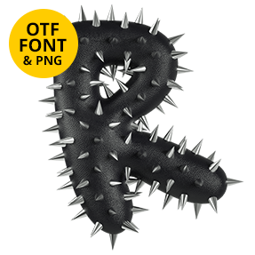 Letter R Of The Punk Font Rock. OpenType Typeface Made By Handmade Font