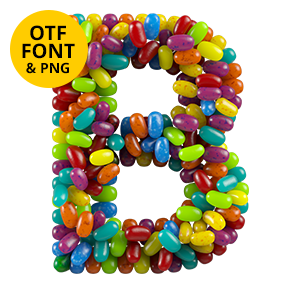 Letter B Of The Jelly Beans Font. Sweet OpenType Typeface Made By Handmade Font