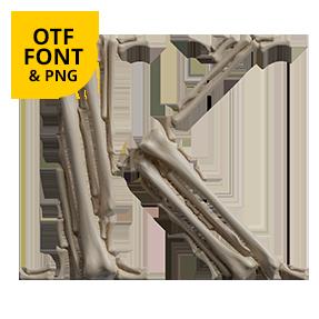 Archaeology Font Bones OpenType Typeface Made By Handmade Font Letter K