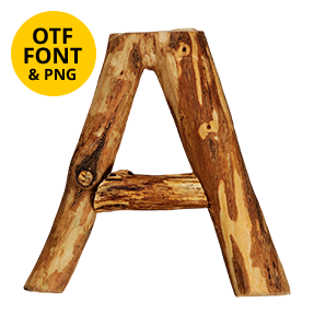 Craft Wood Font Letter A. OpenType typeface