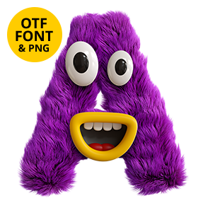 Happy Monster Font Letter A
