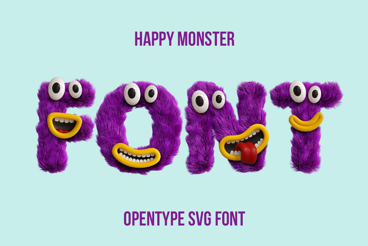 Happy Monster Font OpenType Typeface SVG