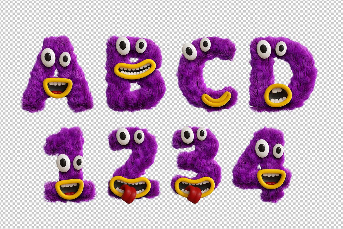 Happy Monster Font OpenType Typeface SVG. Photoshop test of monster font