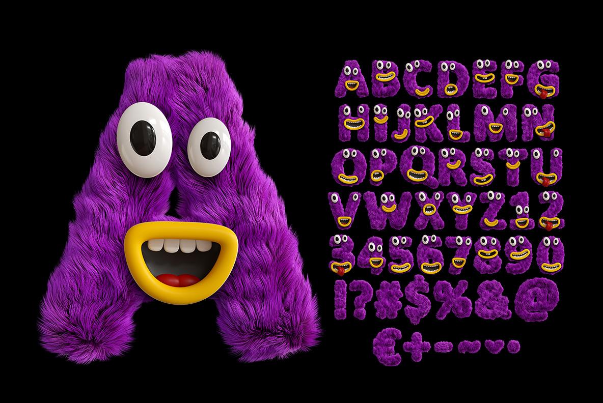 Happy Monster Font OpenType Typeface SVG. Alphabet