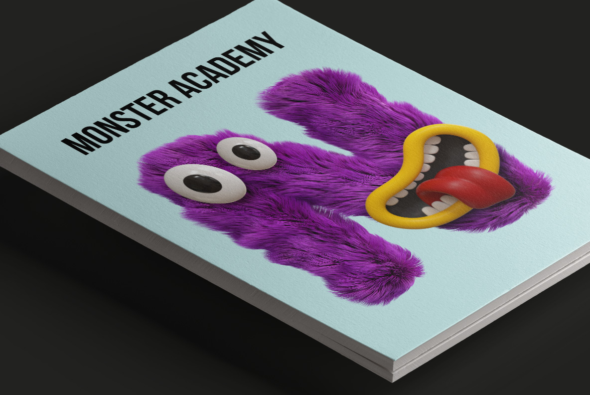 Happy Monster Font OpenType Typeface SVG. Magazine cover