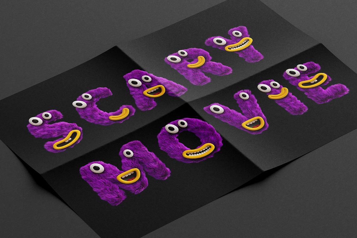 Happy Monster Font OpenType Typeface SVG. Poster mockup