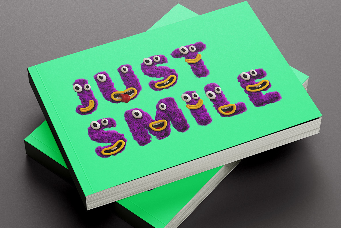 Happy Monster Font OpenType Typeface SVG. Book cover