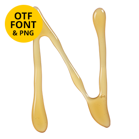 Letter N Of The Honey Font. Sweet OpenType Typeface Made By Handmade Font
