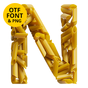 Letter N Of The Pasta Font. Italian OpenType Typeface Made By Handmade Font