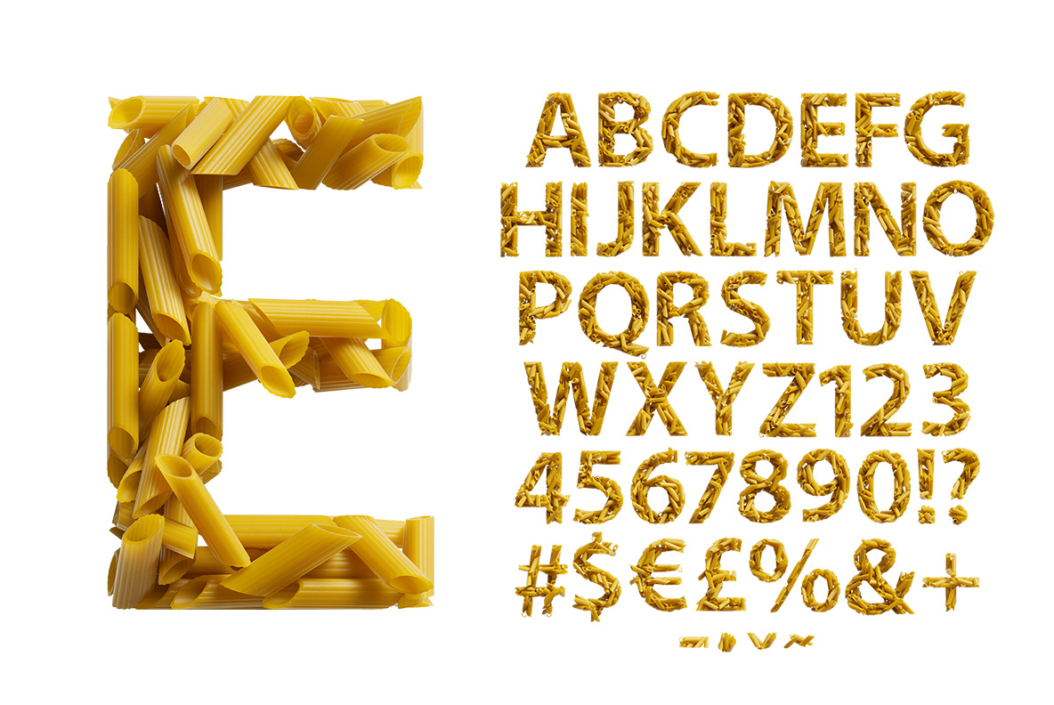 Alphabet of the Pasta Font. Italian OpenType Typeface Made By Handmade Font