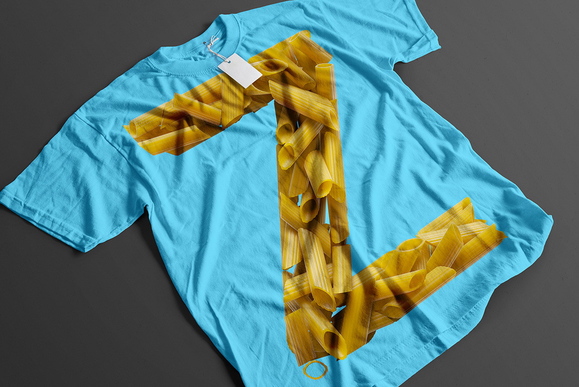 Blue t-shirt with Pasta Font. Italian OpenType Typeface Made By Handmade Font