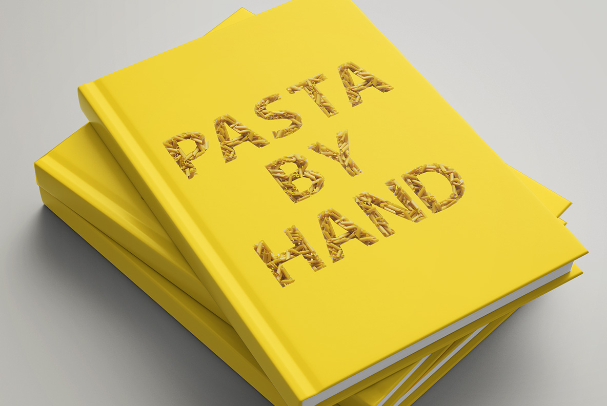 Yellow book cover with Pasta Font. Italian OpenType Typeface Made By Handmade Font