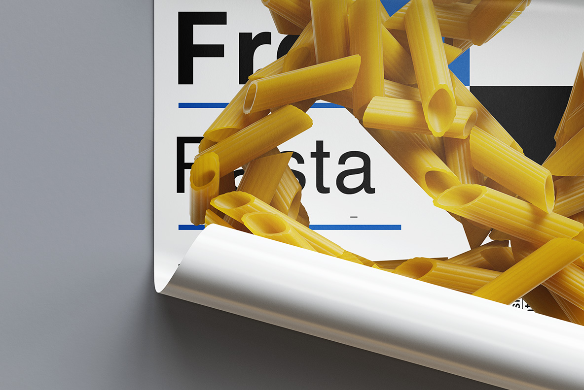 Poster mockup with Pasta Font. Italian OpenType Typeface Made By Handmade Font
