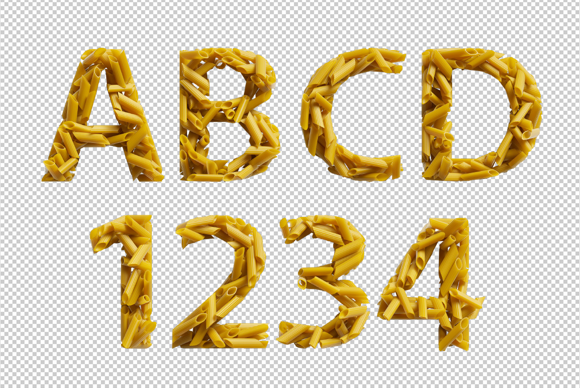 Photoshop test with Pasta Font. Italian OpenType Typeface Made By Handmade Font