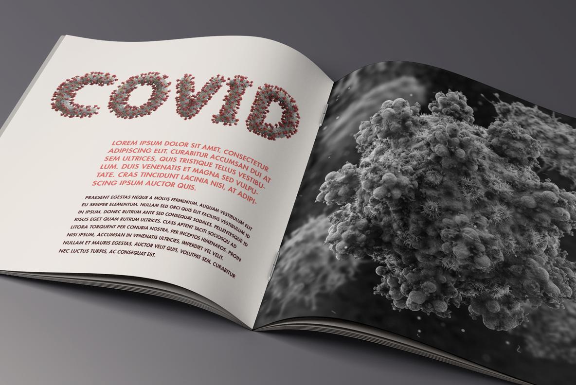 Covid 19 Font OpenType Typeface SVG. Opened magazine with corona virus font