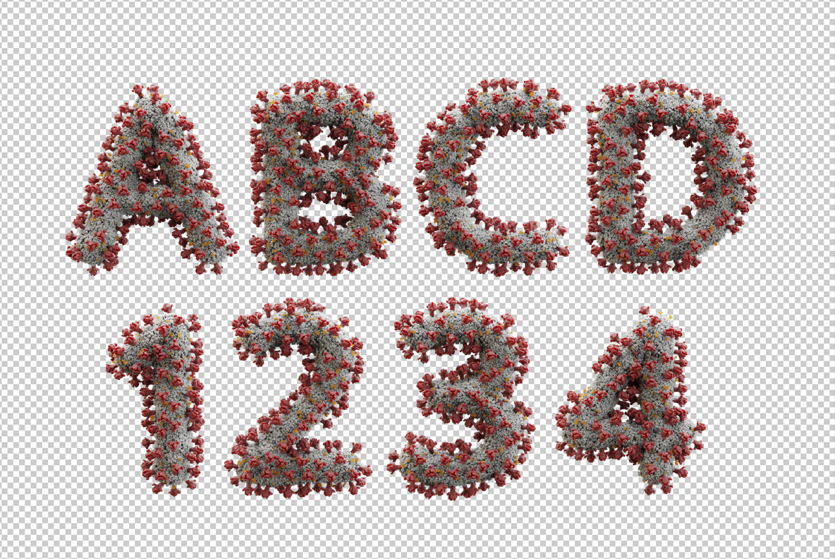 Covid 19 Font OpenType Typeface SVG. Photoshop test of corona font