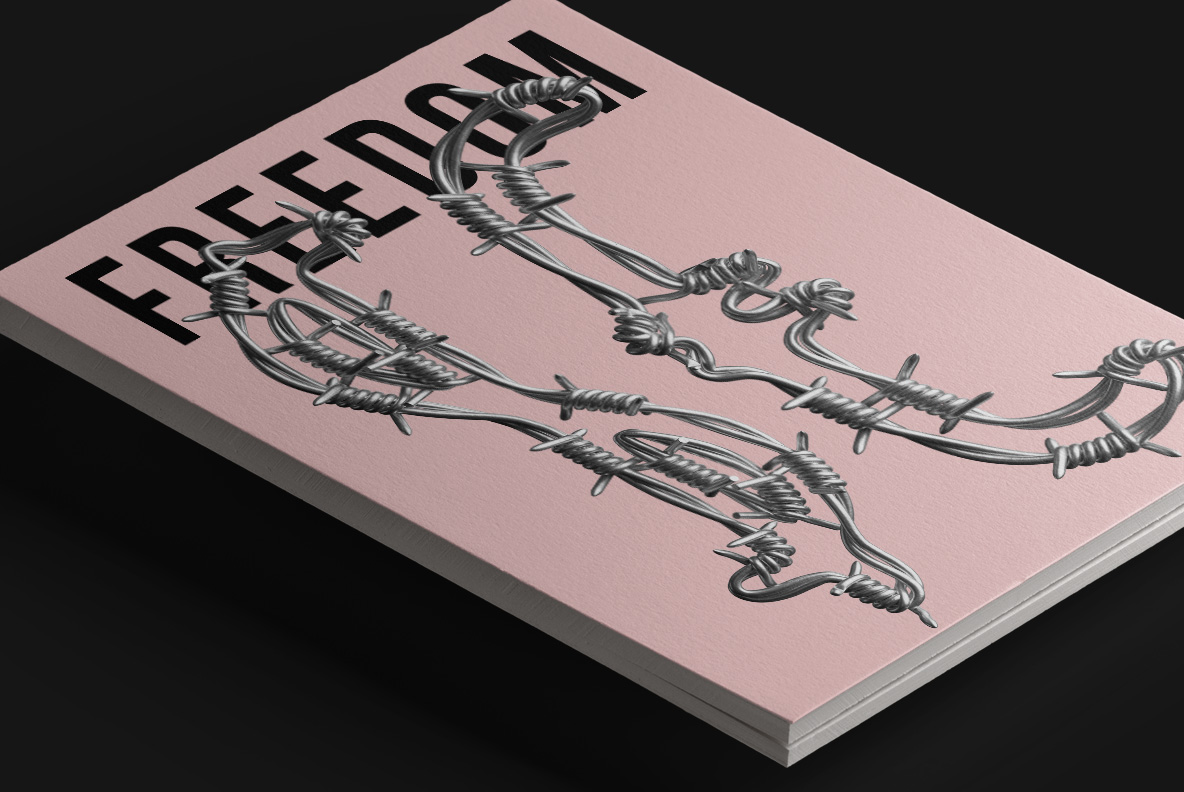 Magazine cover with Freedom Font. Wire OpenType Typeface Made By Handmade Font
