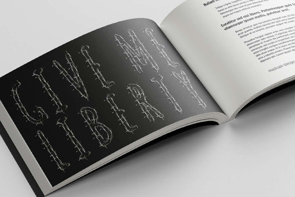 Catalogue with Freedom Font. Wire OpenType Typeface Made By Handmade Font