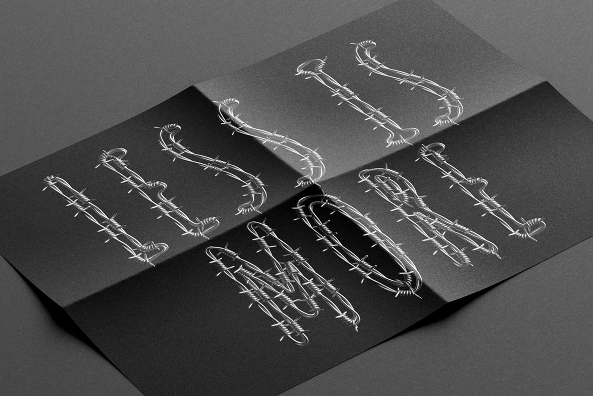 Poster preview with Freedom Font. Wire OpenType Typeface Made By Handmade Font
