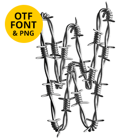 Letter W of the Freedom Font. Wire OpenType Typeface Made By Handmade Font.