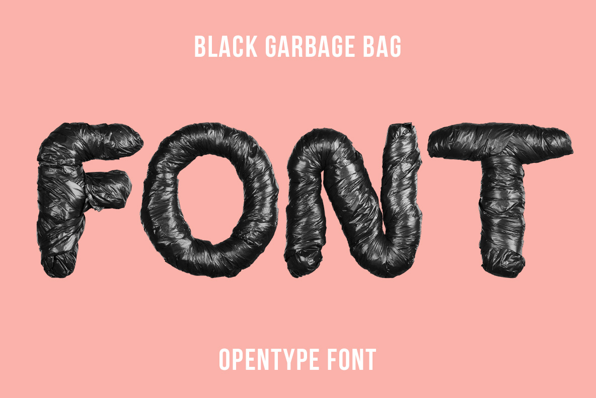 Cover of the Black Garbage Bag Font. Trash OpenType Typeface Made By Handmade Font