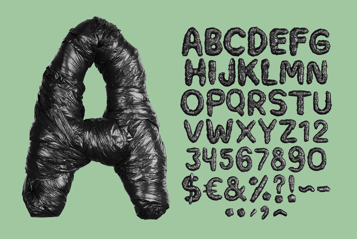 Alphabet of the Black Garbage Bag Font. Trash OpenType Typeface Made By Handmade Font